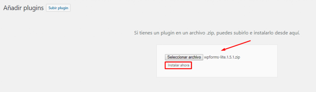 añadir plugin wpform