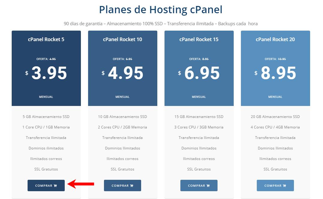 elegir el plan de hosting